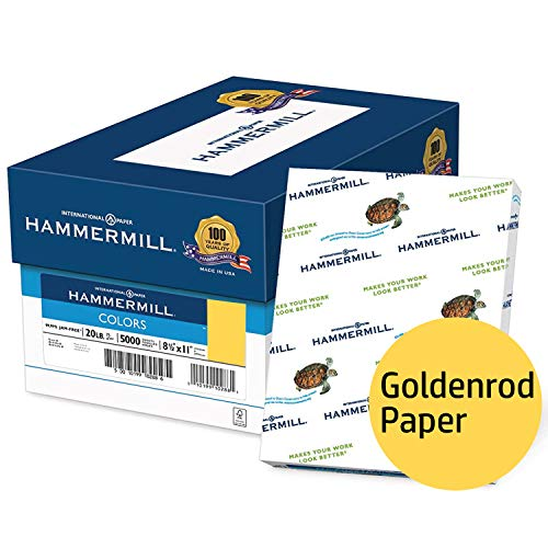 Hammermill Colored Paper, Goldenrod Printer Paper, 20lb, 8.5x11 Paper, Letter Size, 5000 Sheets / 10 Ream Case, Pastel Paper, Colorful Paper (103168C) ()