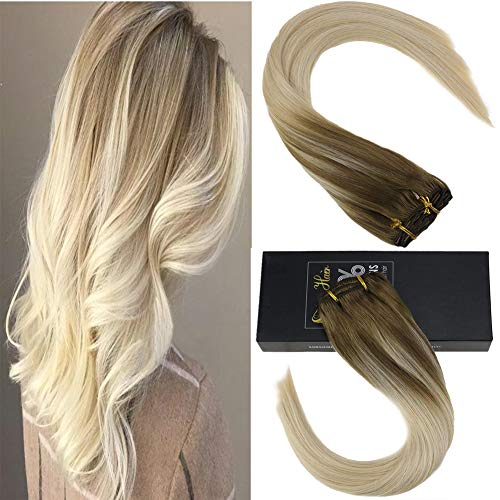 Sunny Double Weft Clip in Human Hair Extensions 18 Inch Balayage Brown Fading to Platinum Blonde Thick Hair Extensions Remy Clip in Extensions for Full Head 120g 7pcs