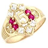 10k Yellow Gold Simulated Ruby Birthstone Beautiful Quinceanera 15 Anos Ring