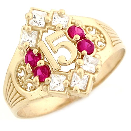 14k Yellow Gold Simulated Ruby Birthstone Beautiful Quinceanera 15 Anos Ring by Jewelry Liquidation