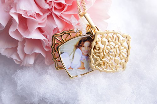 With You Lockets Yellow Gold-Diamond-Square-Custom Photo Locket Necklace-22-inch chain-The Mimi by by With You Lockets (Image #4)
