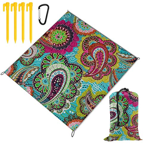 - Rachel Dora Outdoor Waterproof Camping Blankets Lightweight Oversized Sandproof Durable Beach Mat for Picnic,Travel,Yoga,Hiking,Simple Colorful Paisley Printing Blanket with Pockets 67 x 57 inch