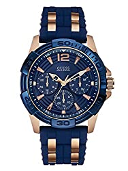 Guess Men's Stainless Steel Casual Silicone Watch, Color Gold-tonenavy Blue (Model: U0366g4)
