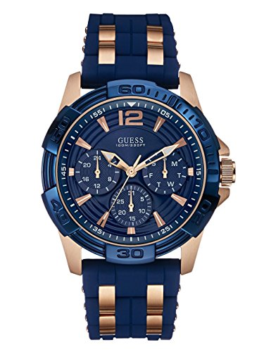 GUESS  Comfortable Blue Stain Resistant Silicone + Rose Gold-Tone Stainless Steel Watch with Day, Date + 24 Hour Military/Int
