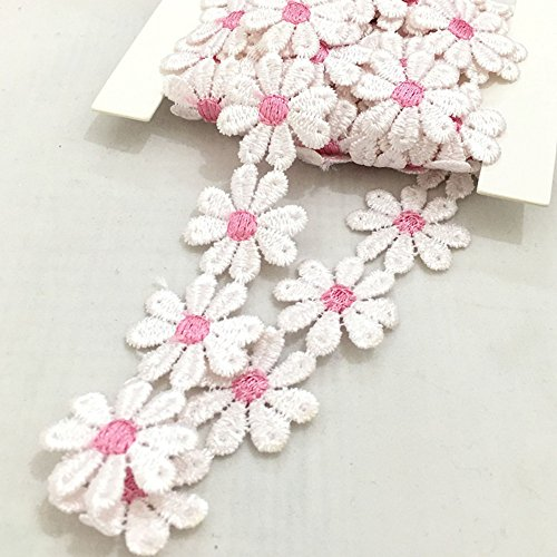 Pink White Daisy Flower Embroidery Lace Trimming x 2 Metres