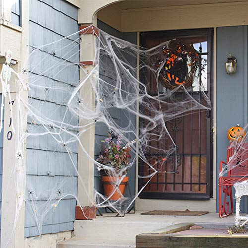 Amor Halloween Spider Web Cobwebs Decoration Fake Cobwebs with 30 Fake Spiders and 5 Fake Bats for Halloween Party Supplies Costume Parties