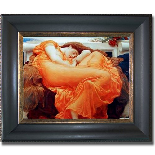 Flaming June by Leighton Premium Black & Gold Framed Canvas (Ready-to-Hang)