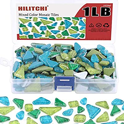 Mix Shape Plates Hilitchi 1lb Assorted Stained Glass Mosaic Tile Mixed Shapes and Colors Glass Pieces for DIY Crafts Flowerpots Handmade Jewelry and More Picture Frames