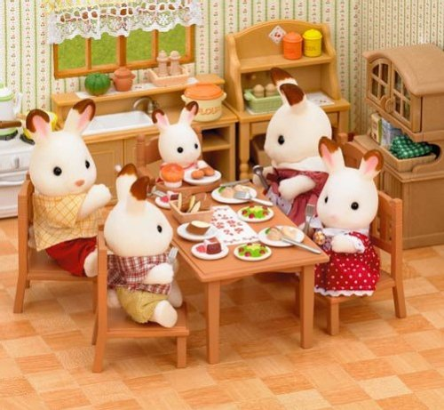 Epoch Sylvanian Families Family Furniture Dining Table Set Ka 412 Japan Import Amazoncouk Toys Games
