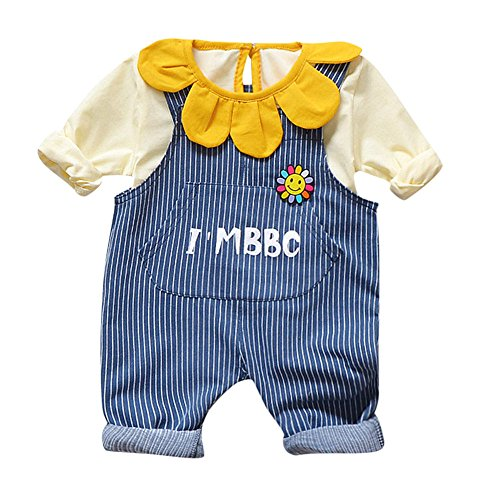 (XUANOU 2PCs Toddler Baby Boys Girls Sweet Sunflower Lace Choker Striped Suspenders Pants Long Sleeve Petal T-Shirt Letter Bib)
