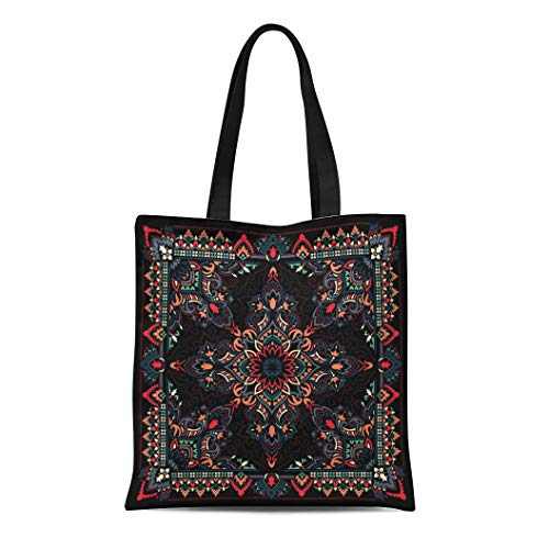 Bronx Canvas Shoe (Semtomn Canvas Tote Bag Pattern Paisley Bandana Floral Scarf Abstract Accessory Authentic Band Durable Reusable Shopping Shoulder Grocery Bag)
