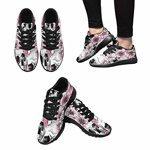Interestprint Kvinna Trail Löparskor Jogging Lätta Sport Gå Atletisk Sneakers Image En Skalle Och Med Blommor Rosa Körsbärs Multi 1