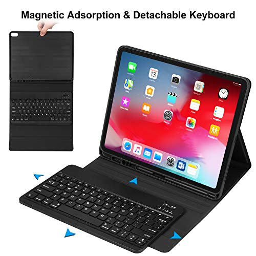 iPad Pro 12.9 Case with Keyboard 2018-3rd Gen [Support Apple Pencil Charging] [with Pencil Holder] Magnetically Detachable Wireless Keyboard for iPad Pro 12.9 2018 (Not for 2017/2015), Black by CHESONA (Image #2)