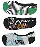 Vans Womens Girls Girly Ped Sock 2 pairs pack (White Wild Orch, Girls Shoe Size 1-6)