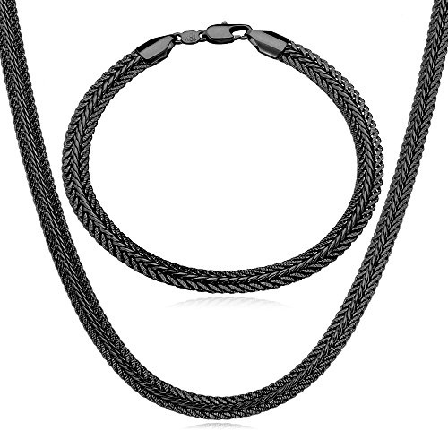 U7 Cool Gun Black Metal Plated Necklace Bracelet Set Men Fashion Foxtail Chain Jewelry 6MM Wide, 26