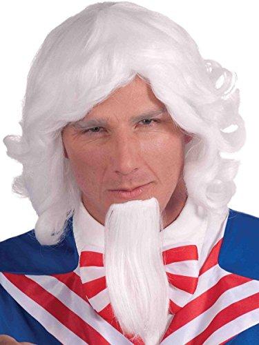 Forum Novelties Uncle Sam Wig and Beard Set, White, One Size - Uncle Sam Beard