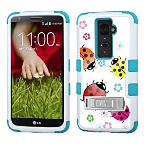 One Tough Shield ? 3-Layer Hybrid phone Case with Kick-Stand (White/Teal) for LG G2 - (Ladybug)