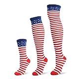 Jasmino Patriotic American Flag Stars & Stripes Socks for Womens Mens 1-3 Pairs (3Pairs USA Flag (1 Crew Socks + 1 Knee High + 1 Thigh High))