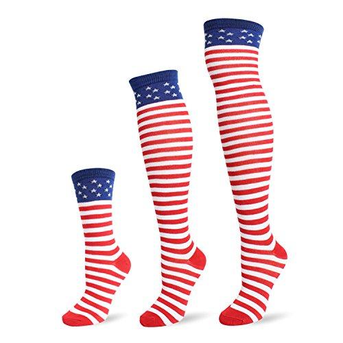 - Flag long Sock American USA Knee High Christmas Socks Thigh High Patriotic Stockings (3 Pairs Flag Mix Socks)