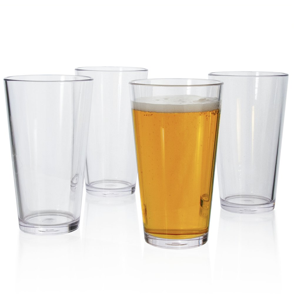 Plastic 16-ounce Beer Pint Glasses | set of 4 Clear