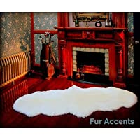 Fur Accents Shaggy White Faux Double Sheepskin Area Rug / Ultra Suede Back /2x6