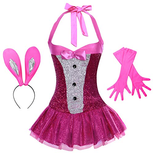 Womens Playboy Bunny Costumes Sexy Rabbit Babydoll Cosplay Lingerie Halloween Dress up 3pcs Outfits Nightwear Clubwear with Gloves Hot Pink -