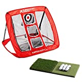 Rukket Skee Pop Up Golf Chipping Net | Outdoor/Indoor Golfing Target Accessories and Backyard Practice Swing Game with Foam Training Balls, Dual Turf Hitting Mat and Adjustable Rubber Tee