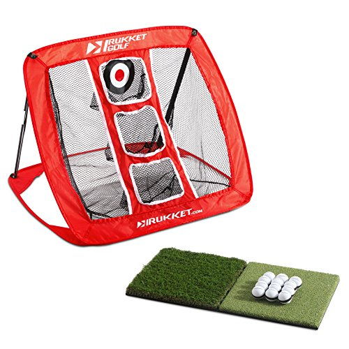 Rukket Skee Pop Up Golf Chipping Net | Outdoor/Indoor Golfing Target Accessories and Backyard Practice Swing Game with Foam Training Balls, Dual Turf Hitting Mat and Adjustable Rubber (Chipper Net)