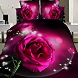 wiwanshop 4pcs Suit Polyester Fiber Red Rose Flower Reactive Dyeing Bedding Sets Queen Kin