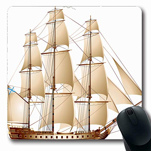 Ahawoso Mousepads for Computers Vessel Navy Sea Frigate Sailing Warship Vintage Water Andrew Discovery Ensign Gun Design Oblong Shape 7.9 x 9.5 Inches Non-Slip Oblong Gaming Mouse Pad