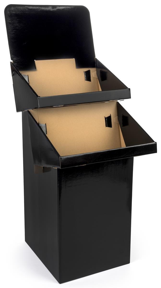 2-Tier Display Bin with Optional Header, Black Corrugated Cardboard Dump Bin Ships Flat - Sold in Sets of 3