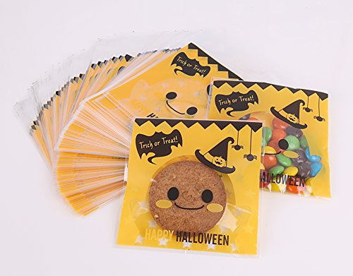 Halloween 100 Pack Jack O Lantern Trick or Treat Bags from HALOFUN, Plastic Candy Bags for Candy Cookie Cake Snacks and Party Favors (Yellow) (Halloween Cakes And Treats)