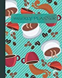 Weekly Planner: Coffee Beans Roasting Green Cover 8x10' 120 Pages/60 Weeks Checklist Planning Undated Organizer & Journal - Christmas Gifts