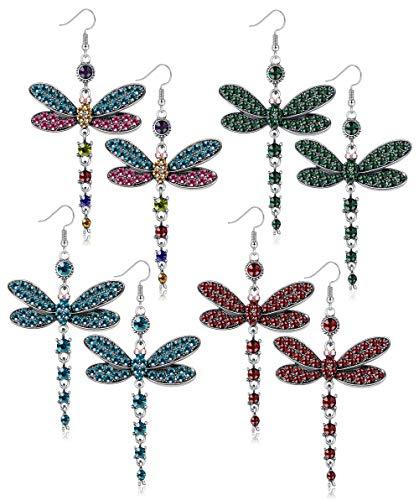 Subiceto 4 Pair Vintage Dragonfly Drop Pendant Earring for Women Girls Multi CZ Retro Hoop Earring Set Jewelry