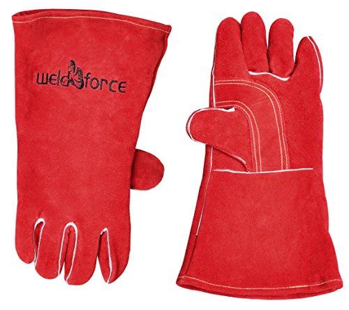 WeldForce Welding Gloves Woven Fleece Lining, Red, One size