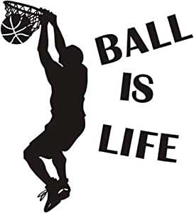 Ball is Life Basketball Slam Dunk Wall Decal Sticker - Basketball Player Decor Wall - Removable Wall Sticker Sports Style Wall Decor for Kids Boys Teens by Hatisan