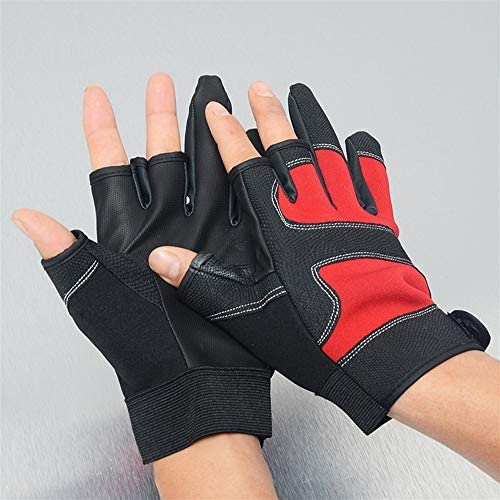 手袋 日常 実用 釣り手袋3カット指滑り止め通気性防水手袋アウトドアスポーツ手袋日焼け止め手袋 (Color : BLUE, Size : L)