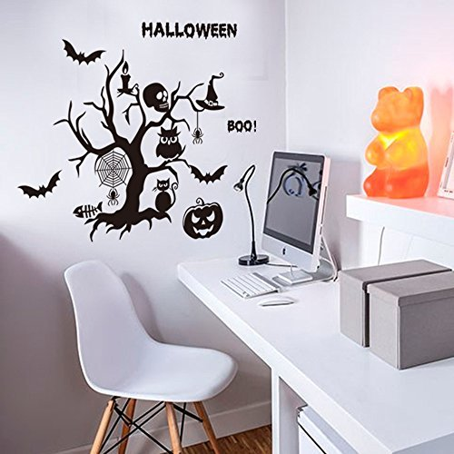 [Happy Halloween Withered Cat Bat Pumpkin Candles Spider Skull Hat Wall Decals Window Stickers Halloween Decorations for Kids Rooms Nursery Halloween] (Alice In Wonderland Halloween Decorations)