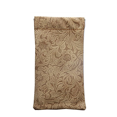 Lucky Leaf Classic Sunglasses Pouch Case Leather for Women Eyeglass Holder Floral Pattern With Cleaning Cloth (Brown Flower 3.8