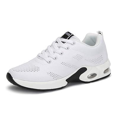 fa1714cc1d3e Basket Sneakers Femme pour Running Chaussures de Course Lacets Air Coussin  4cm Blanc 35