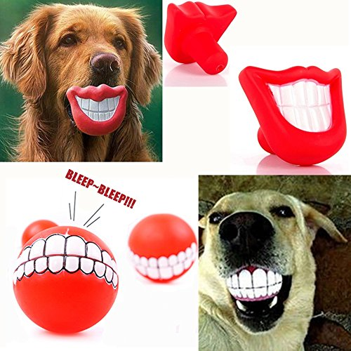 WHOMEC Puppy Dog Toys Big Red Chewing Squeaky toy Rubber for Pet Dog with Sound Squeaker Squeaky Toys (Red Lip + Pink Lip)
