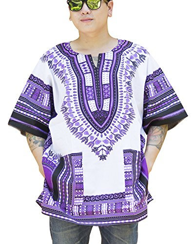 Ornatcha Pha Fai Brand New African Dashiki,Unisex,Cotton Shirt (Violet and - Jersey Embroidered Romper
