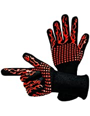 Dzzzzc BBQ 1472°F ekstremalne odporne na wysokie temperatury rękawice EN407 certyfikat do domu/kuchni/na zewnątrz ochrona dłoni pięć palców grill mikrofalówki rękawice do gotowania, grillowania, grillowania XL