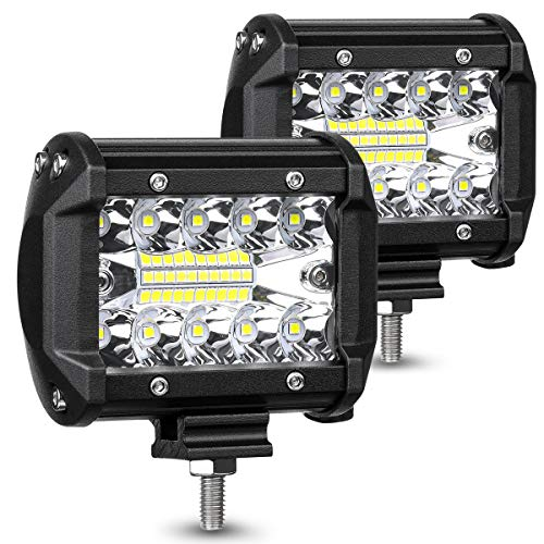 Led Truck - AMBOTHER LED Pods Light Bar 4 Inch 120w 12800lm Driving Fog Off Road Lights Triple Row Waterproof Spot Flood Combo Beam LED Cubes Lights For Pickup Truck Jeep ATV UTV SUV Boat, 2 Year Warranty, 2 Pack