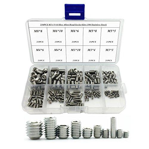 - 210PCS 304 Stainless Steel Allen Head Socket Hex Grub Screw Assortment Kit (M3 M4 M5 M6 M8)
