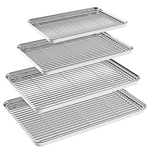 Fungun 8 Piece Baking Sheet, Stainless Steel Cookie Pans with Rack Set for Toaster Oven, Non Toxic, Healthy, Rust Free, Heavy Duty, Superior Mirror Finish, Easy Clean, Dishwasher Safe ()