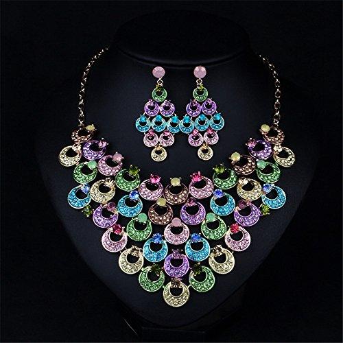 Fille Era Magnifique multicouche Petit pendentif rond Strass Collier Ensemble collier et boucles d'oreilles