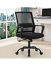 Office Chair Ergonomic Desk Chair Mid Back Computer Chair with Lumbar Support Armrests Breathable Mesh Height Adjustable Chair Rolling Swivel Chairs for Home Office (Black)