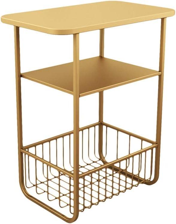 Hoge Kwaliteit Goedkoop Moderne Minimalistische Salontafel Multifunctionele Opbergrek Smeedijzeren Huishouden Nachtkastje 4.11 (Color : Black) Gold BMDGrt6