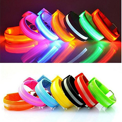 Reflective Flashing Led (HaMeng Safety Sport Flashing LED Armband Belt with Visibility Light up Glow in the Dark Bracelet for Cycling,Jogging,Walking and Running.Multi color Set of 7)